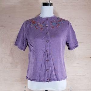 🦋Pendleton Purple Floral Cardigan Size M Petite